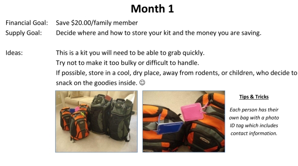 72-Hour Supply Kit Month 1