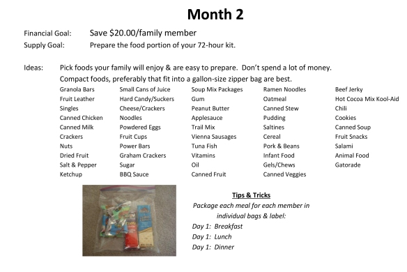 72-Hour Supply Kit Month 2